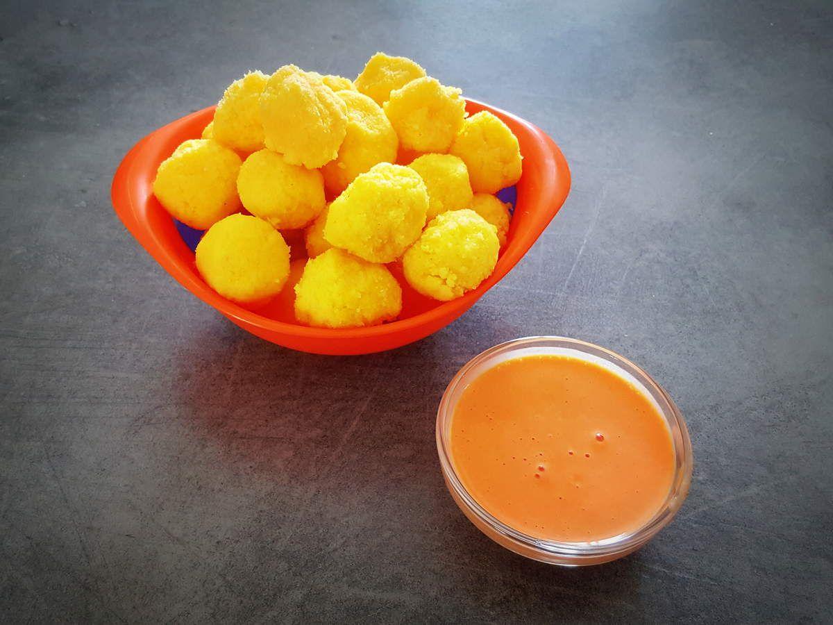 Billes de polenta avec sa sauce poivron rouge pour bébé