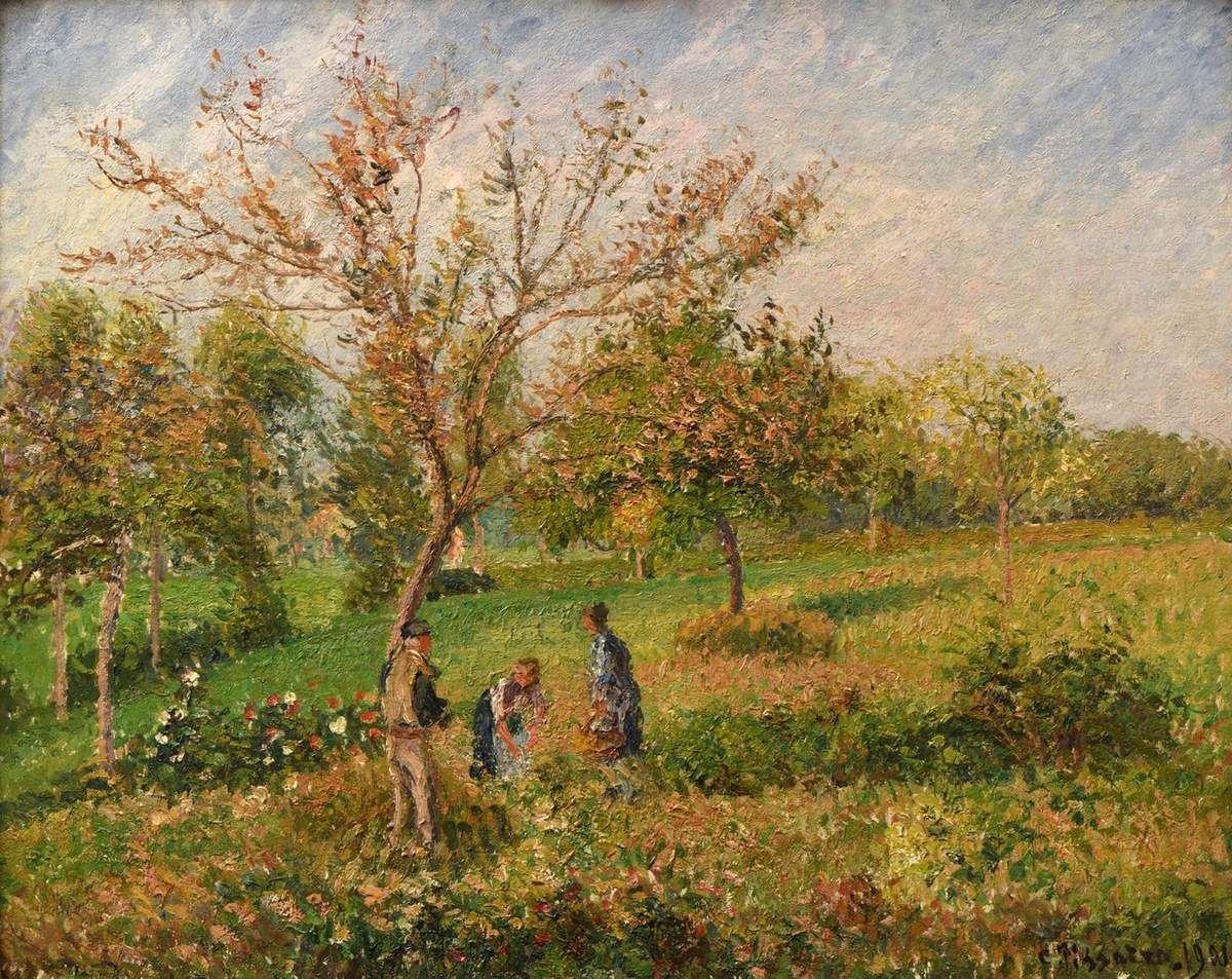 Camille Pissarro (1830-1903) dans le pré en automne  Eragny