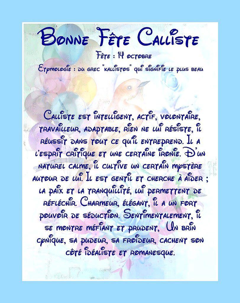 Carte Bonne Fête Calliste - 14 octobre