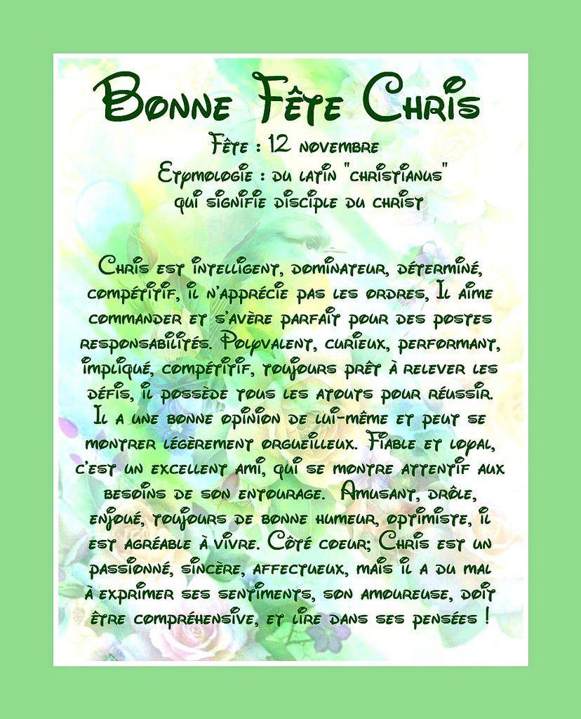 Carte Bonne Fête Chris - 12 Novembre