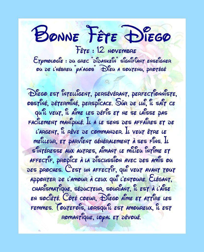 Carte Bonne Fête Diego - 12 Novembre