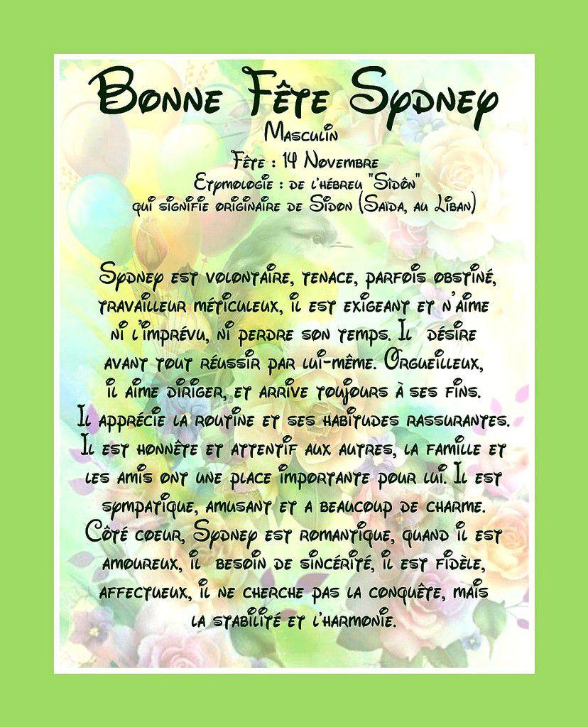 Bonne Fête Sydney - Masculin - 14 Novembre