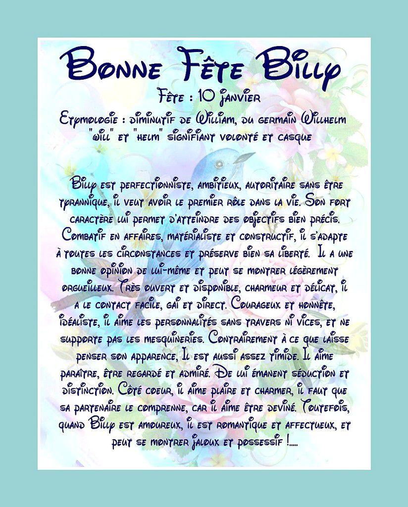 CarteBonne Fête Billy - 10 janvier
