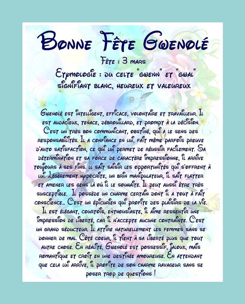 CarteBonne Fête Gwenolé - 3 mars