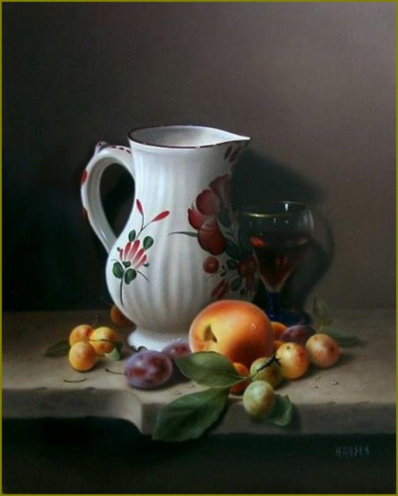 Jean-Jacques Hauser - Cruche Luneville et fruits