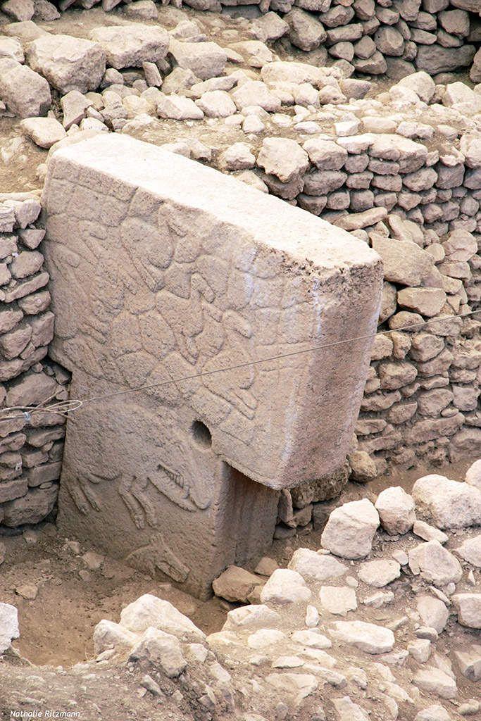Mégalithe du site de Göbeklitepe comprenant notamment un sanglier taillé dans la partie inférieure