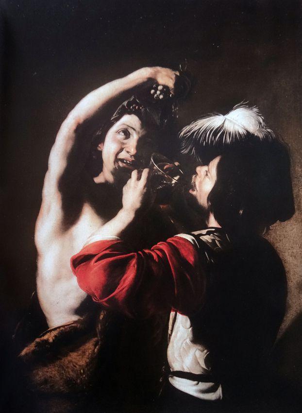 Manfredi (1582-1622) - Bacchus et un buveur vers 1621 - huile sur toile 132x96cm - Rome Palazzo Barberini