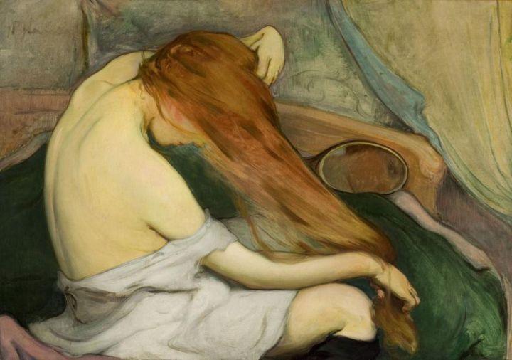 Wtadyslaw Slewinski - Femme peignant ses cheveaux 1897 - huile sur toile - 64x91cm - Cracovie - Musée national
