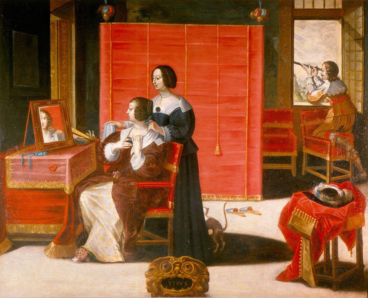 Abraham Bosse (d'après) La vue - femme à sa toilette - après 1635 - 104x137cm huile sur toile - Musée des Beaux arts de Tours.
