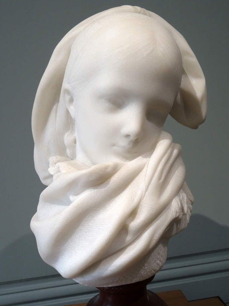 Rodin - L'Orpheline alsacienne - vers 1180 - Buste en marbre taillé par Henri Tréhard - Assistant