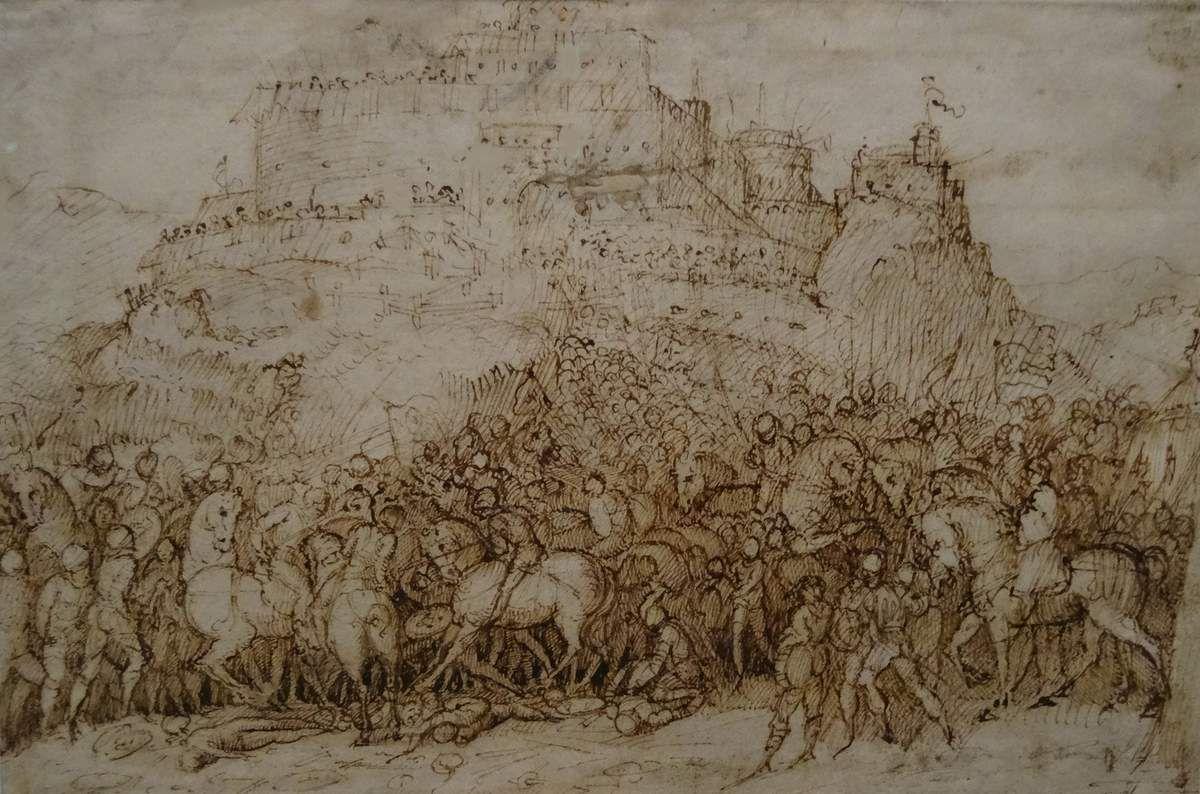 TITIEN (1488-1576) - Scène de bataille - vers 1536 - plume et encre brune
