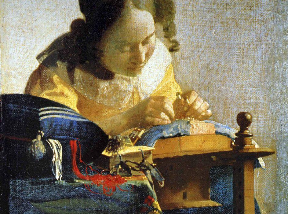"""VERMEER - """"La Dentellière"""" - 1669-1670 - 24x21cm"""