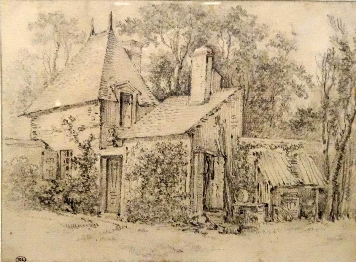 François BOUCHER -1703/1770  Maison entourée d'arbres - graphite sur papier vergé
