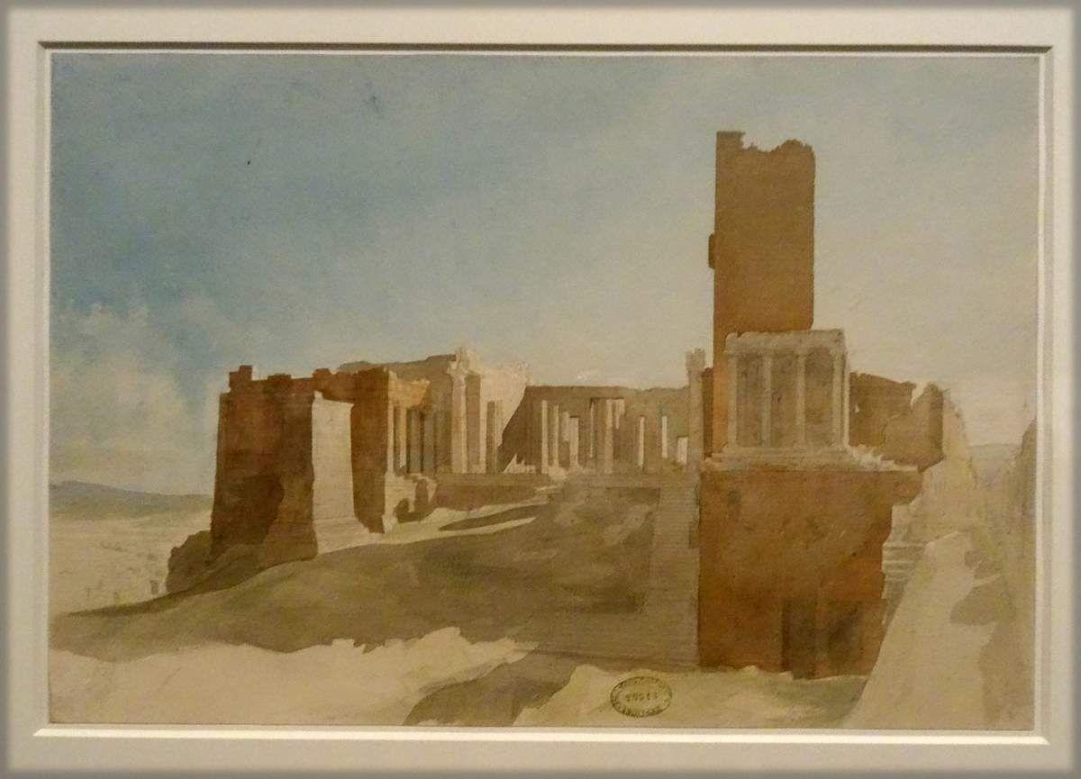 Charles GARNIER - Vue des Propylées - Athènes 1852 - Grafite et aquarelle - Grand prix de ROME en 1849, Charles GARNIER fit un long séjour en Grèce en 1852 durant ses années de pensionnat à l'Académie de France