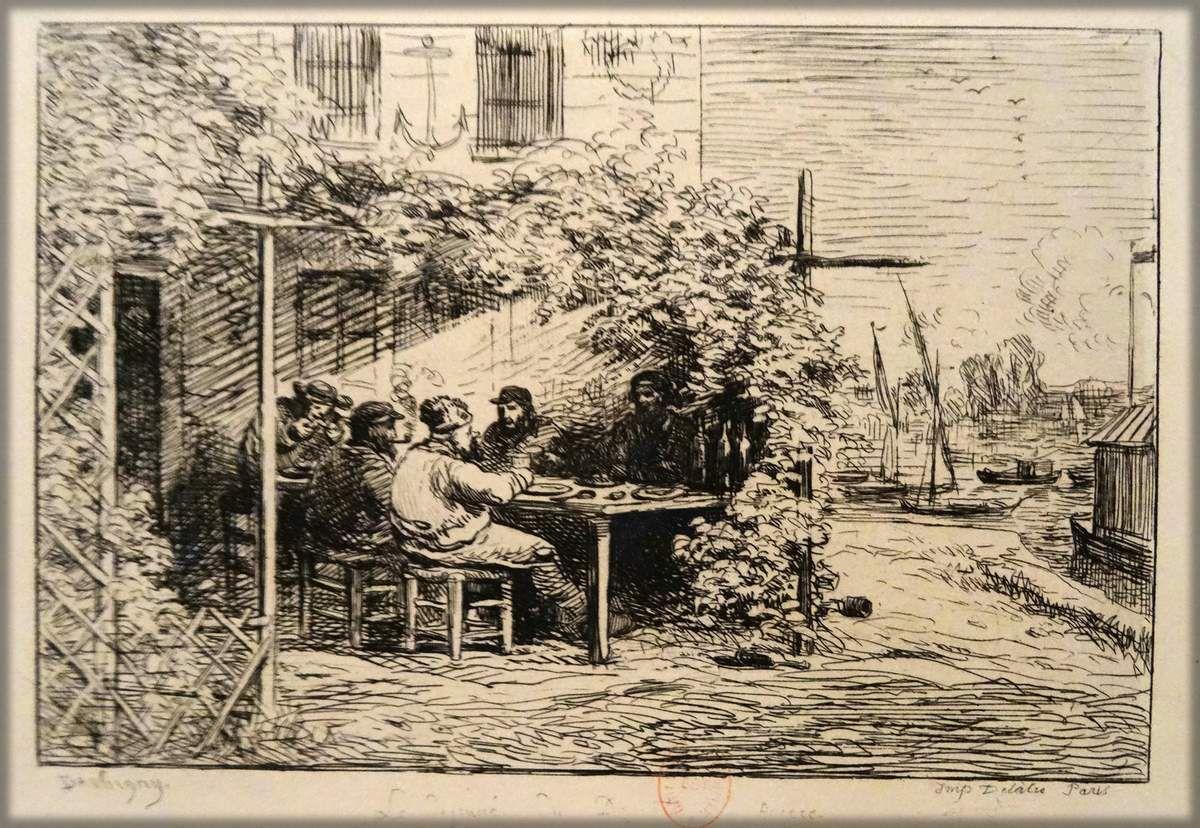 """Charles François DAUBIGNY - """"Le voyage en bateau"""" - En 1857 DAUBIGNY aménage """"Le Botin"""" , bateau atelier à bord duquel il sillonne la Seine et l'Oise pour dessiner et peindre dans la nature. Il raconte avec humour ses aventures à bord dans 30 dessins à la plume dont 15 ont été traduits en gravures à l'eau forte."""