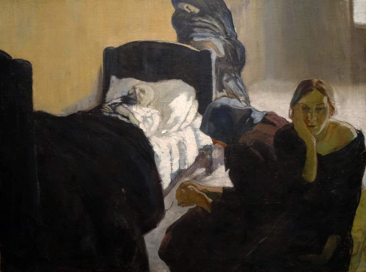 Auprès du lit du malade - 1920 - Huile sur toile - Peet AREN - Estonie
