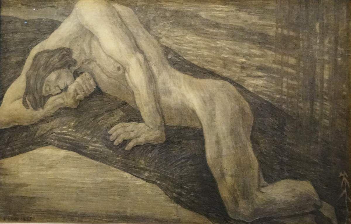 La mort de Kalevipoeg - 1935 - Fusain sur papier - Kristjan RAUD - Estonie