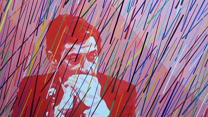 Pleut (série questions) 1977 - Huile sur toile 130x97 cm