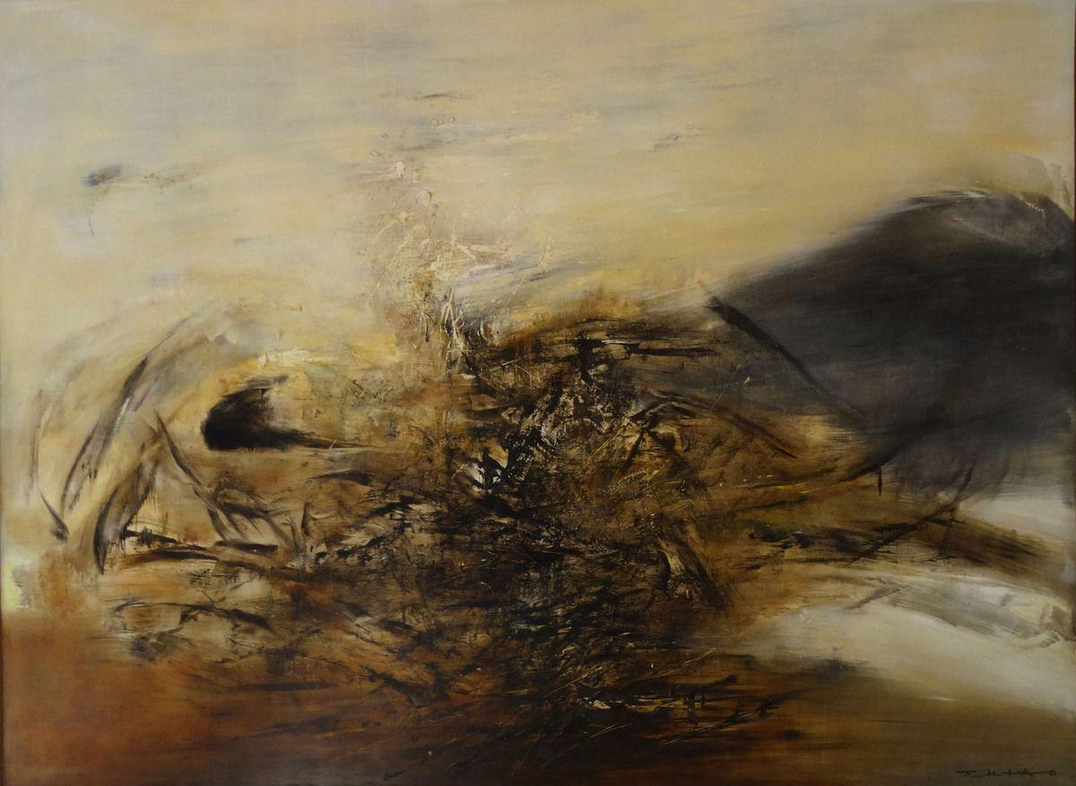 """25.10.64 - Huile sur toile (Hommage à Edgar Varèse - Zao Wou-Ki dit sa fascination pour """"Déserts"""" )"""