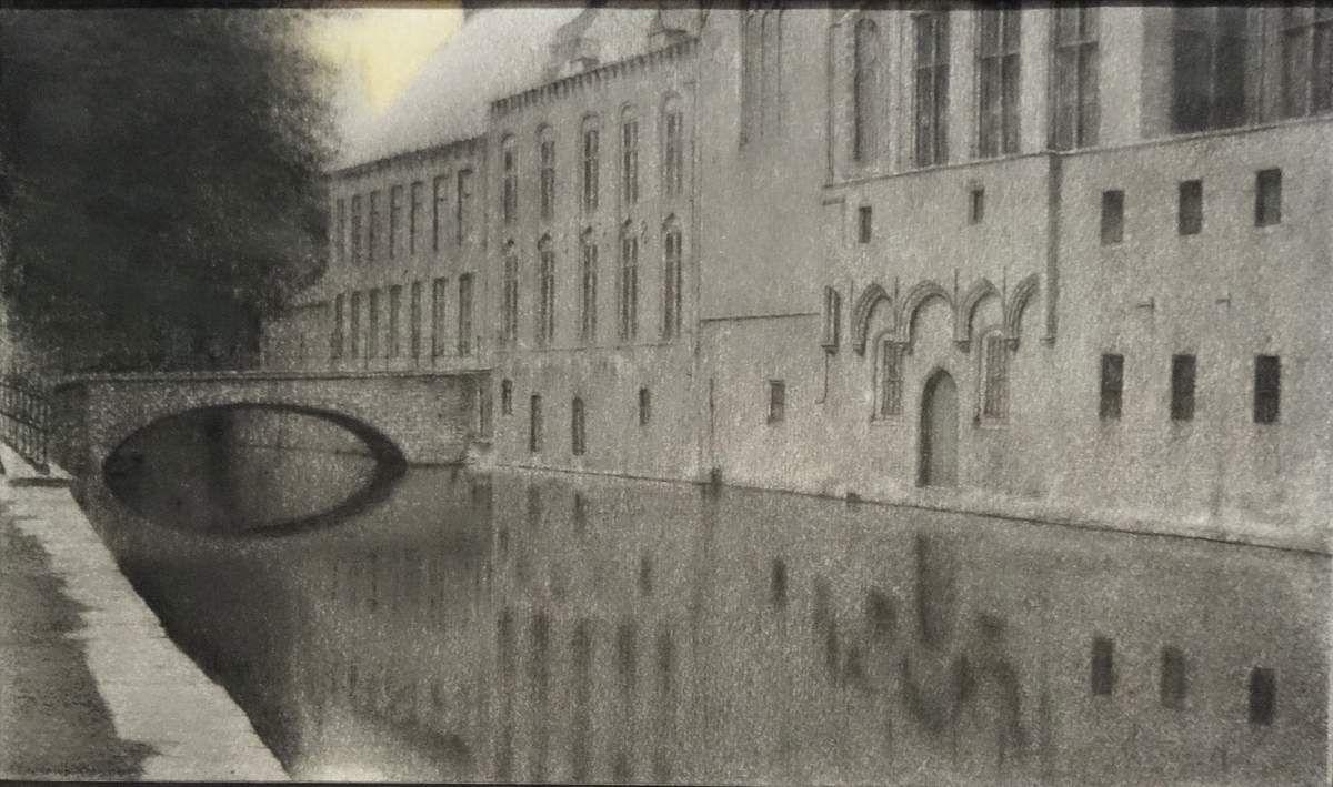 Oeuvres au crayon et pastel sur papier, souvenirs de Bruges 1904/1905