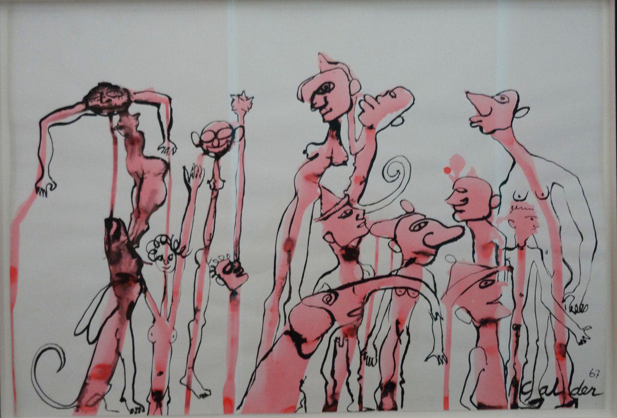 Calder - Eléphant rose avec personnes roses - encre et gouache sur papier - 1967