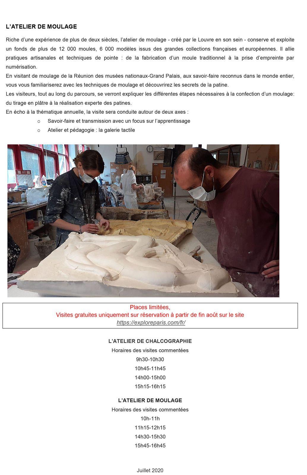 Ateliers de la RÉUNION DES MUSÉES NATIONAUX - Journées du Patrimoine