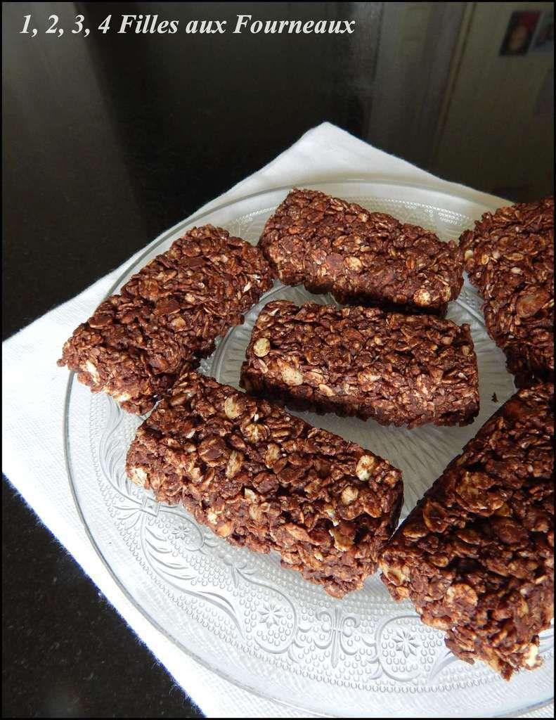 barres céréales chocolat noisette flocons avoine fait maison simple et rapide à réaliser