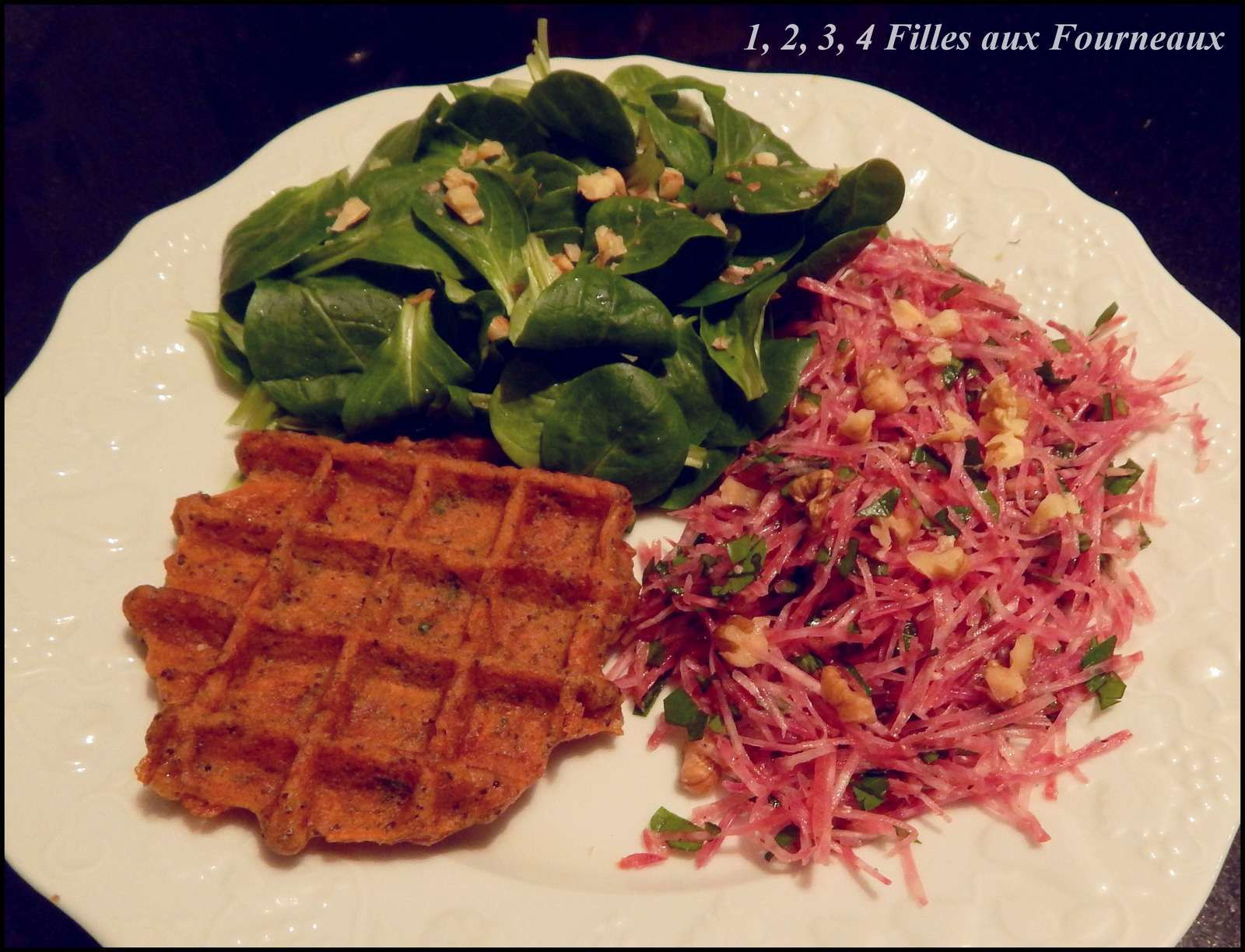 Délicieuses gaufres Carotte - Betterave - Emmental  (sans gluten)