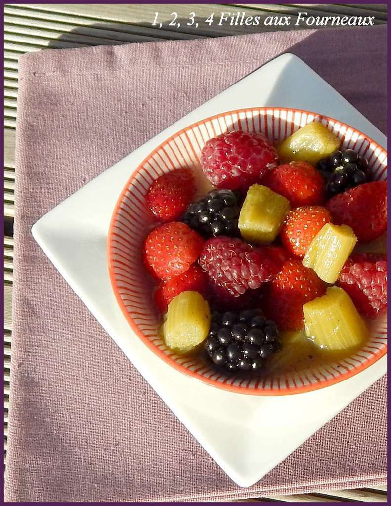 salade fruits rouge rhubarbe, salade fruit rhubarbe framboise myrtille fraise mure groseille, salade fruit anti cancer