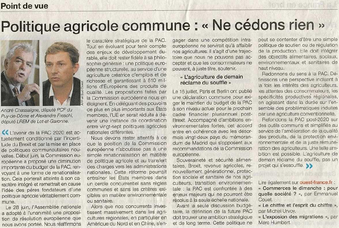 """Politique agricole commune : """"Ne cédons rien"""" - Tribune"""
