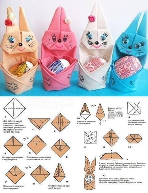 Des lapins en pliage pour cacher les œufs