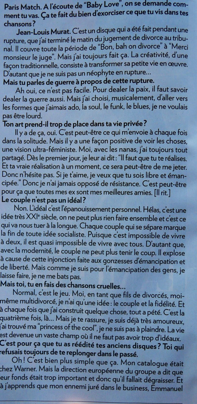 interview PARIS MATCH