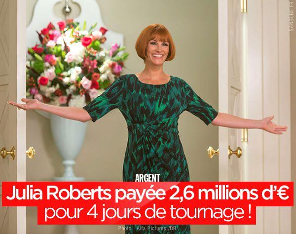 Julia Roberts payée 2,6 millions d'euros pour 4 jours de tournage ! #jackpot