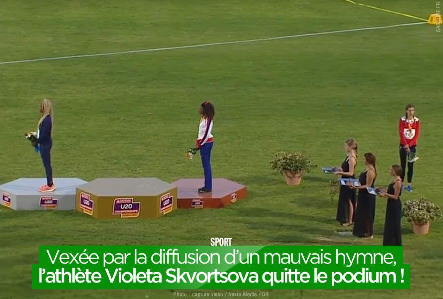 Vexée par la diffusion d'un mauvais hymne, l'athlète Violeta Skvortsova quitte le podium ! #fail