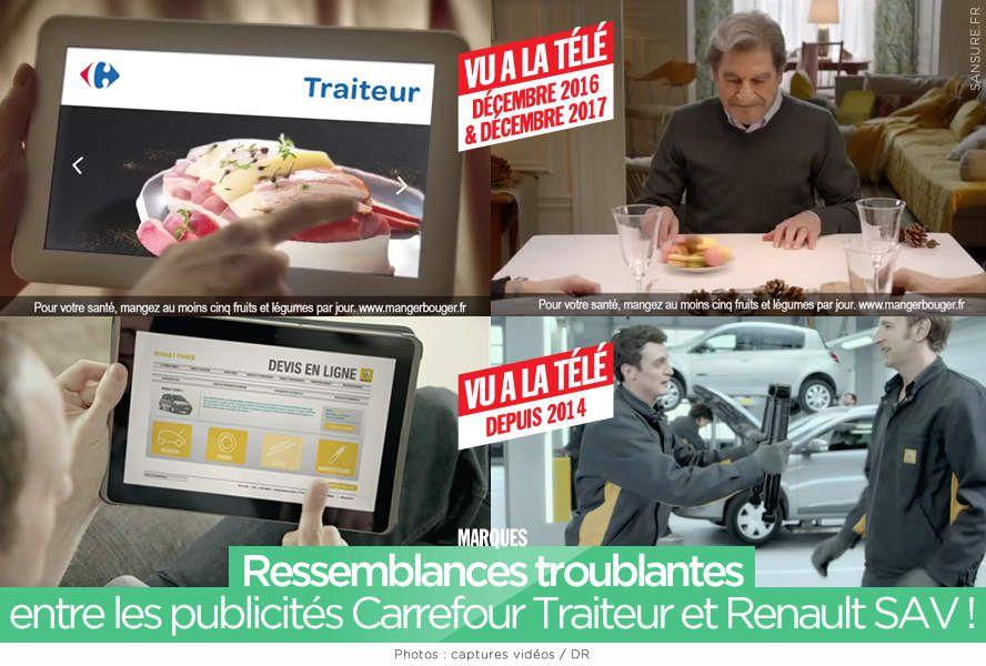 Ressemblances troublantes entre les publicités Carrefour Traiteur et Renault SAV ! #publicité