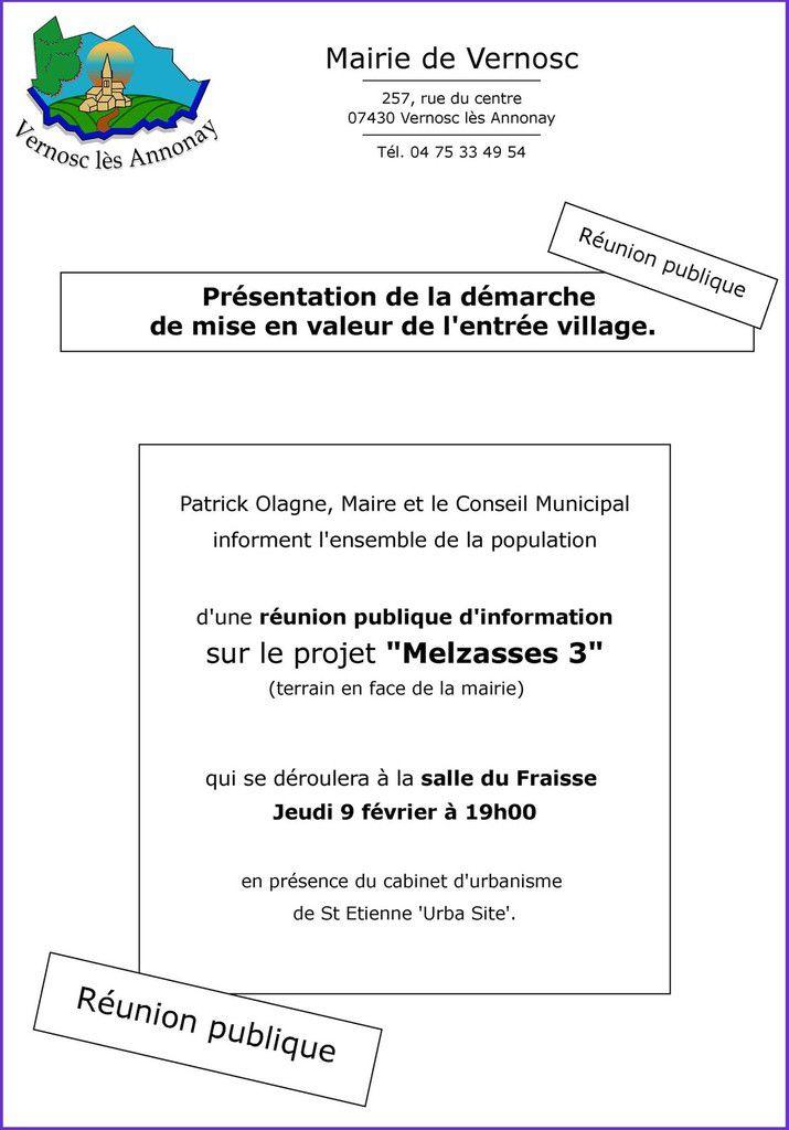 Réunion publique organisée par la Municipalité de Vernosc-lès-Annonay