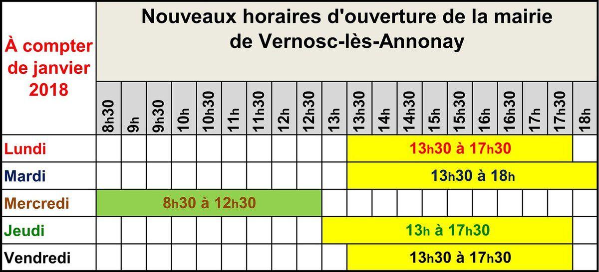 Les nouveaux horaires de la mairie de Vernosc-lès-Annonay