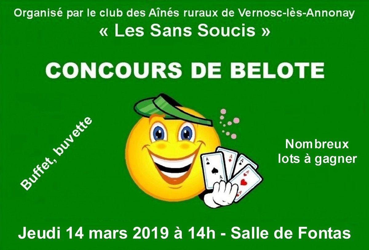 Concours de belote 2019 organisé par le club des Aînés ruraux de Vernosc-lès-Annonay