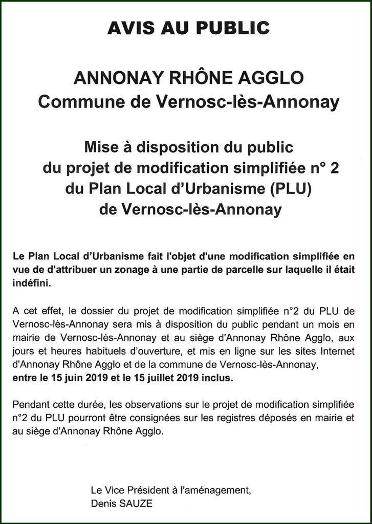Projet de modification simplifiée N° 2 du Plan Local d'Urbanisme de Vernosc-lès-Annonay