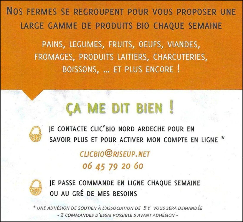 CLIC'BIO Nord Ardèche : achetez vos produits BIO et LOCAUX en ligne