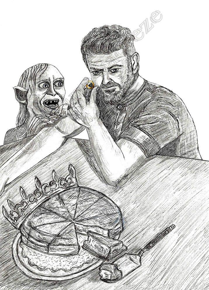 Gollum : Long live the King ! Andy : Merci, mais la prochaine fois évite de cacher le Précieux dans la galette, j'ai failli me casser une dent 😒...