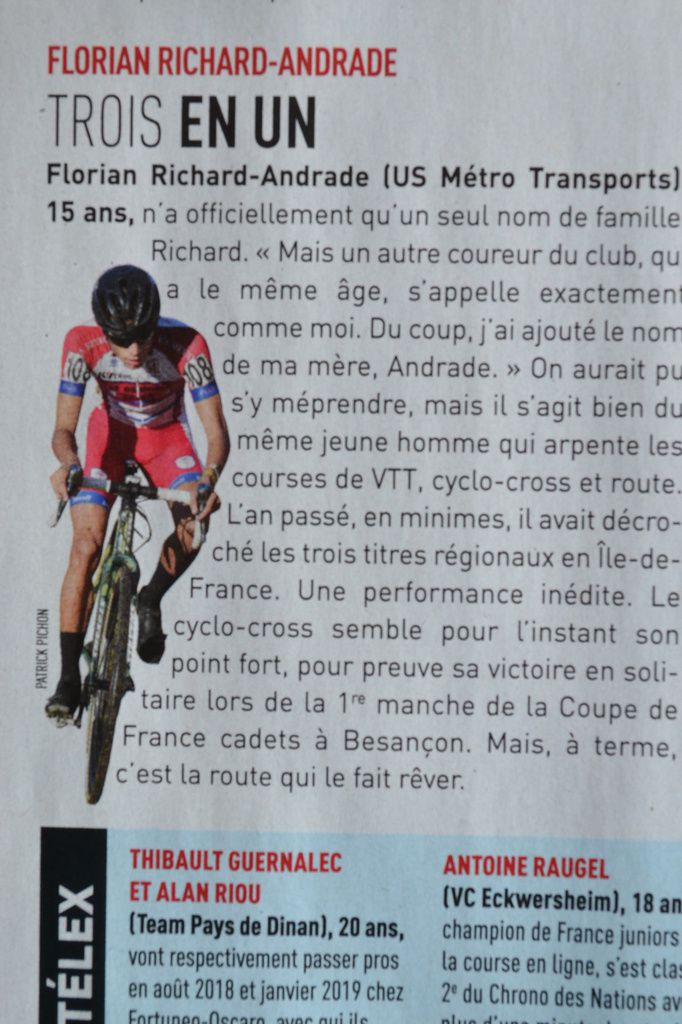 """Vainqueur en cadets, Florian RICHARD-ANDRADE (US Métro T) qui est déjà dans """"Vélomagazine"""" de novembre 2017."""