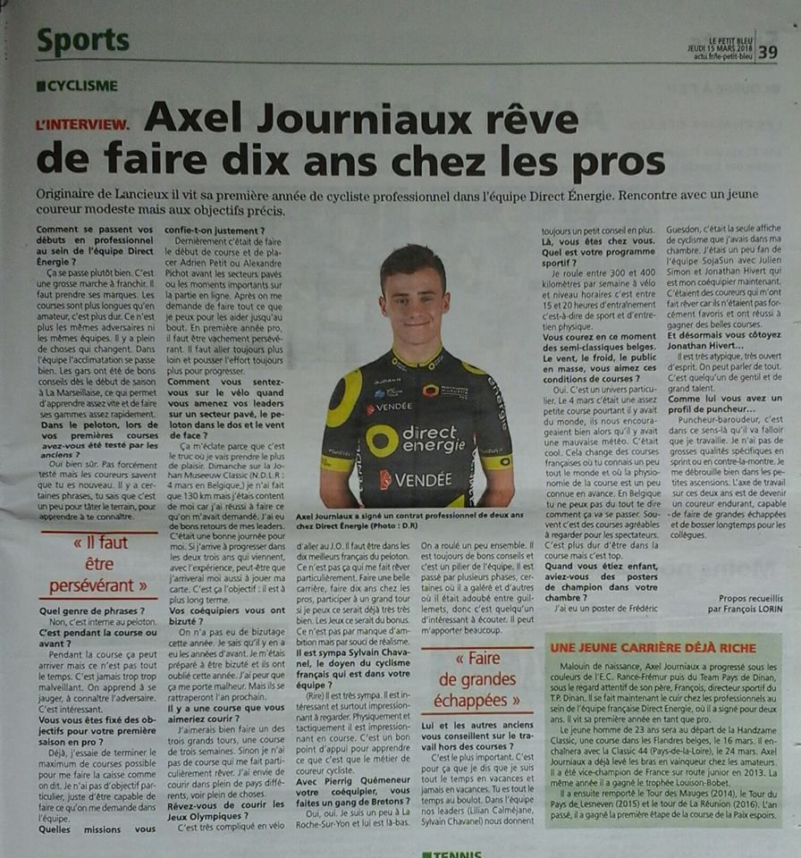 Axel JOURNIAUX (Direct Energie 2018); Ouest-France mars 2018.