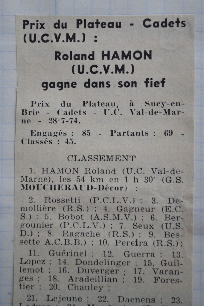 Didier RAGACHE (ES Maintenon St Pierre), 2è à Rungis et résultat cadets 1974.