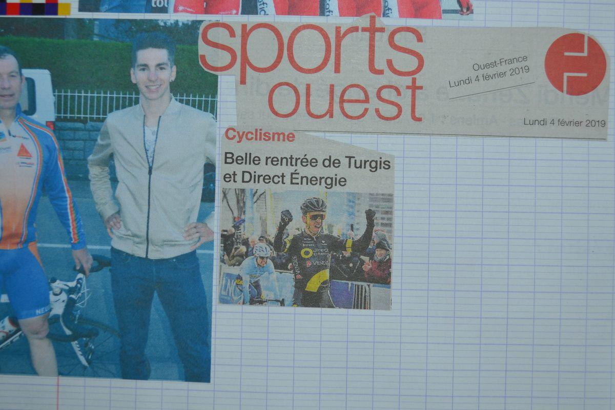 """Première page de l'encart """"sport"""" de Ouest-France du 4 février 2019."""