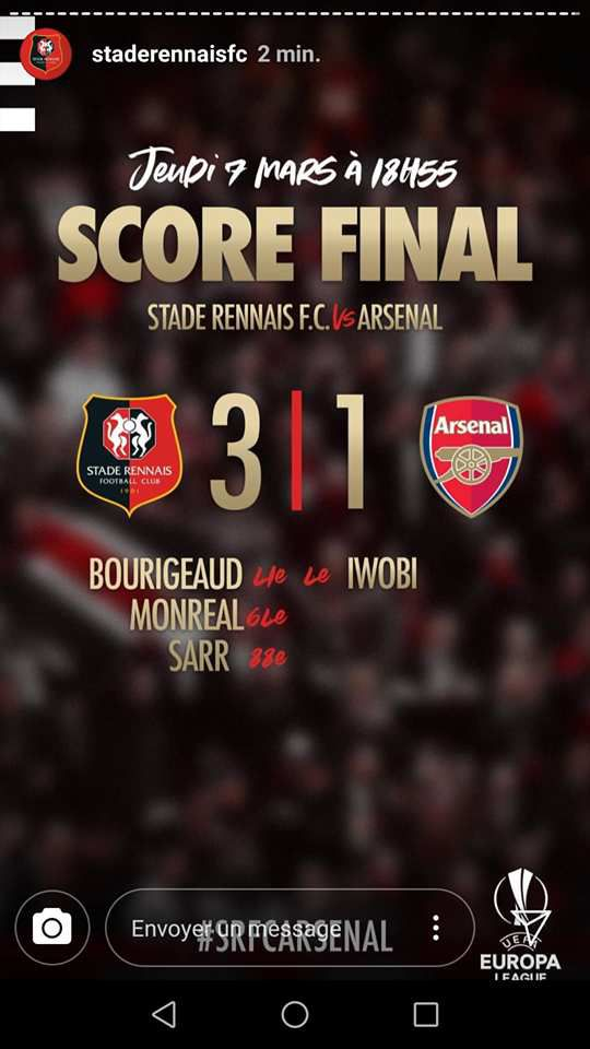 RENNES-ARSENAL : 3-1; on y était à 17h