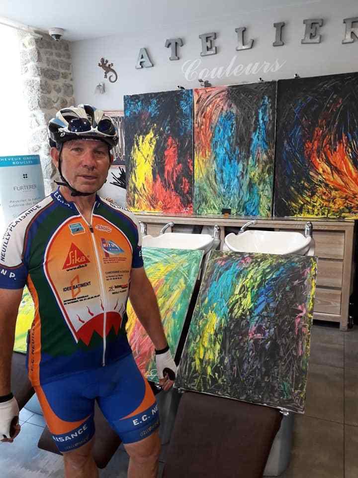 entrainement du 22 juillet: passage au vernissage à Dinan de Cool Diabang et Speed (Gilles DEGARABY), voir article du 24 juillet 2019