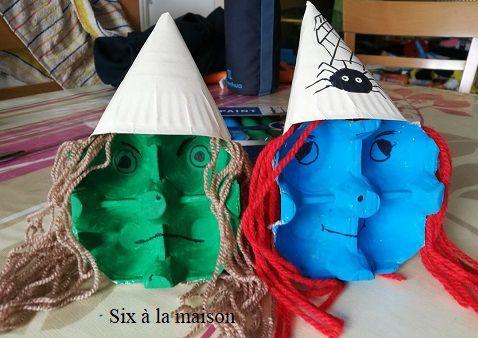 diy petites sorcières pour halloween avec des boites à oeufs