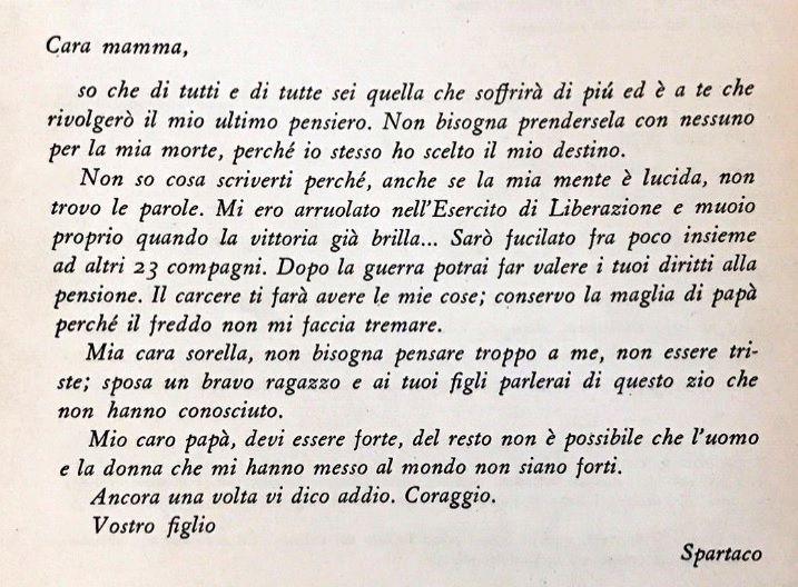 La lettera scritta da Spartaco Fontanot ai genitori e alla sorella prima della fucilazione (il cugino Nerone era già stato fucilato)