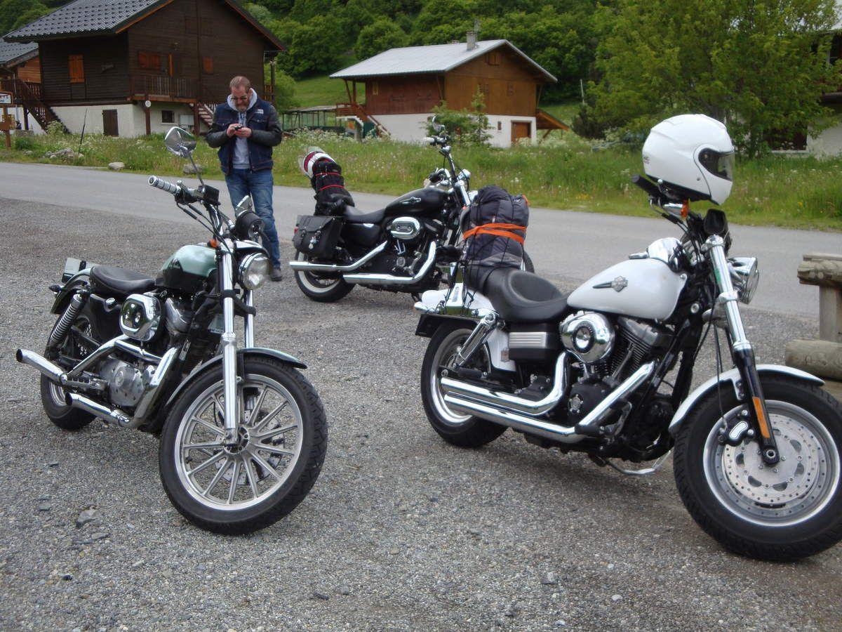 En harley Davidson à PUNTA BAGNA  à Valloire du 17 au 19 juin 2016 ( 573 kms au total ) : journée d'arrivée le vendredi.